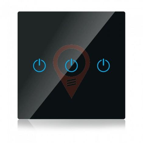 WIFI SMART Touch Ключ Троен Черен Съвместим с Amazon Alexa & Google Home