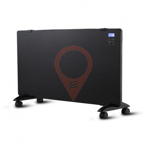2000W Конвектор Стъкло Алуминиев Нагряващ Елемент Черна IP24 Дистанционно Колелца