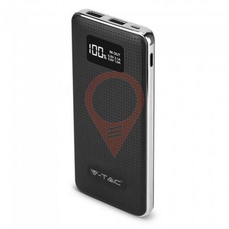 Външна Батерия 10000 mAh С 2 USB + Дисплей Черна