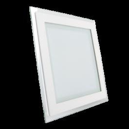 12W LED Мини Панел - стъкло, квадрат, топло бяла светлина