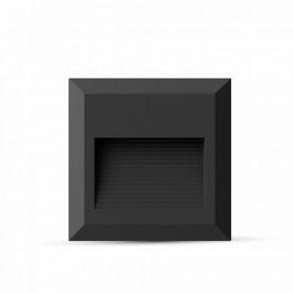 2W LED Осветител за стъпала  Черно Тяло, Квадрат, Неутрално бяла светлина