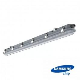 LED Влагозащитено Тяло M-Серия 1500мм 48W 6400K Прозрачно Стоманен Клип 120LM/W