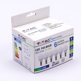 LED Крушка - 5.5W E14 P45 6400K 6Бр/Сет