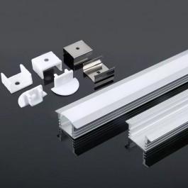 Монтажен Kит С Дифузер за LED Лента Алуминиев Мат 2000 x 24.5 x 12.2мм