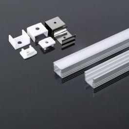 Монтажен Kит С Дифузер за LED Лента Алуминиев Мат 2000 x  17.4 x 12.1мм