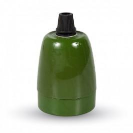 Фасунга Порцелан E27 Зелен