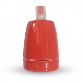 Фасунга Порцелан E27 Червен