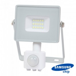 10W LED Прожектор Сензор SAMSUNG ЧИП Бяло Тяло 3000К