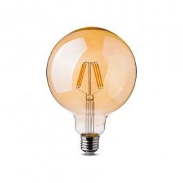 LED Крушка 5W Filament E27 G125 Амбър 2200К