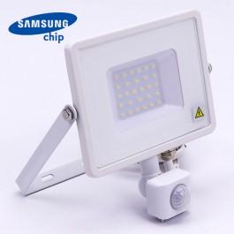 30W LED Прожектор Със Сензор  SAMSUNG ЧИП  Бяло Тяло 4000К