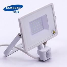 30W LED Прожектор Със Сензор  SAMSUNG ЧИП  Бяло Тяло 6400К