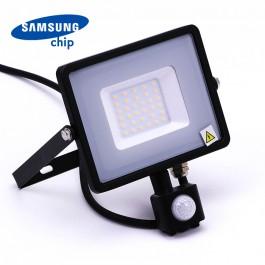 30W LED Прожектор Със Сензор  SAMSUNG ЧИП  Черно Тяло 3000К