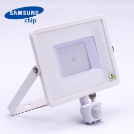 50W LED Прожектор Със Сензор  SAMSUNG ЧИП  Бяло Тяло 3000К