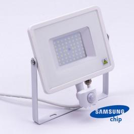 50W LED Прожектор Със Сензор  SAMSUNG ЧИП  Бяло Тяло 6400К