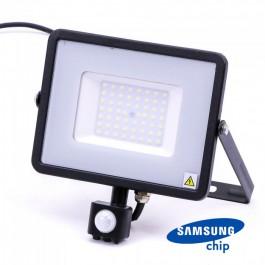 50W LED Прожектор Със Сензор  SAMSUNG ЧИП  Черно Тяло 3000К
