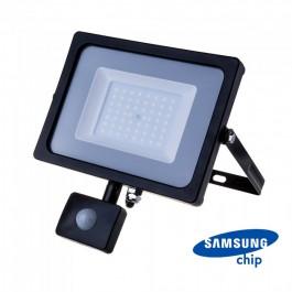 50W LED Прожектор Със Сензор  SAMSUNG ЧИП  Черно Тяло 6400К