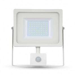 50W LED Прожектор Сензор Бяло тяло SMD, Топло бяла светлина