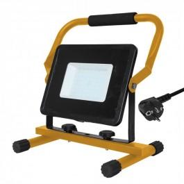 50W LED Прожектор Със Стойка + Щепсел Черно Тяло Бяла Светлина