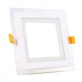 12W LED Мини Панел - стъкло, квадрат, Неутрално бяла светлина
