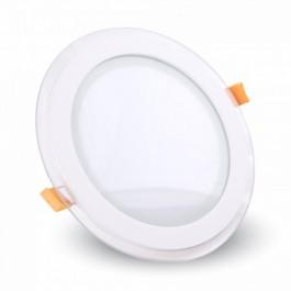 12W LED Мини Панел - стъкло, кръг, Неутрално бяла светлина