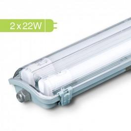 Влагозащитено тяло с 2 x 22W 150 cm LED пури Бяла светлина
