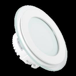 6W LED Мини Панел - стъкло, кръг, топло бяла светлина