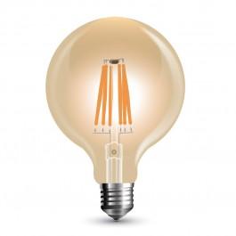 LED Крушка - 8W Винтидж E27 G125 Amber Димираща, Топло бяла светлина