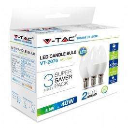LED Крушка - 5.5W E14 Тип Свещ неутрално бяла светлина 3 бр/Сет