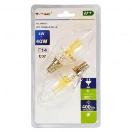 LED Тип Свещ Крушка - 4W Винтидж E14 Топло бяла светлина 2 бр/Сет