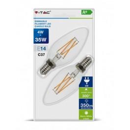 LED Тип Свещ Крушка - 4W Винтидж E14 Топло бяла светлина 2 бр/Сет Димируема