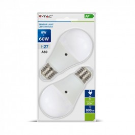 LED Крушка - 9W E27 A60 Термо Пластик Неутрално бяла светлина Сензор ден и нощ 2 бр/Сет