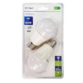 LED Крушка - 9W E27 A60 Термо Пластик Бяла светлина 2 бр/Сет