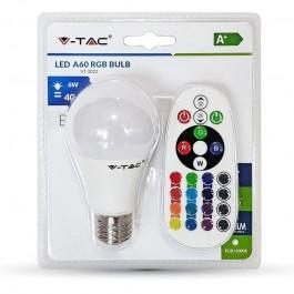 LED Крушка - 6W E27 A60 RGB С Дистанционно, топло бяла светлина Блистер