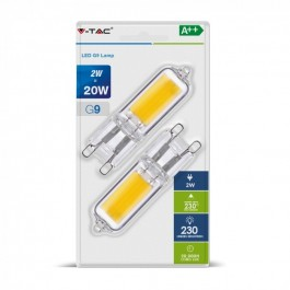 2W LED Крушка 230V G9 Пластик Топло бяла светлина 2бр./блистер