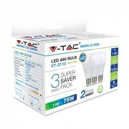 LED Крушка 11W A60 E27 Пластик Неутрално бяла светлина СЕТ 3БР