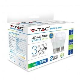 LED Крушка 11W A60 E27 Пластик Студено бяла светлина СЕТ 3БР