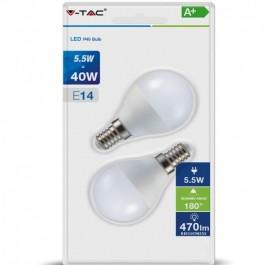 LED Крушка 5.5W P45 Топло бяла светлина E14 БЛИСТЕР 2БР