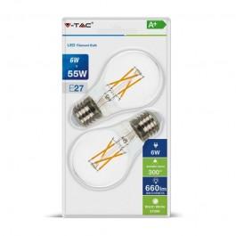 Винтидж LED крушка - 6W E27 A60 Топло бяла светлина 2 бр/Сет Блистер