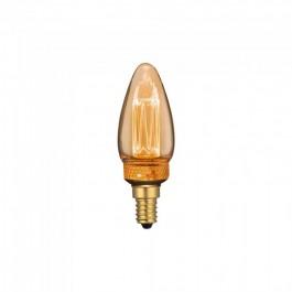 LED Крушка - 2W Арт Filament Кендъл E14 Amber Glass 1800K±200K