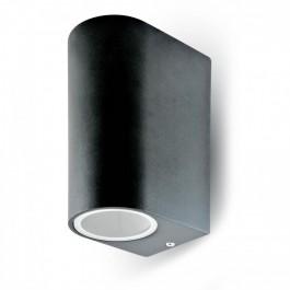 Фасадно Тяло За Стена GU10 Алуминий Кръг Черно Две Посоки IP44