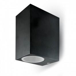 Фасадно Тяло За Стена GU10 Алуминий Квадрат Черно Две Посоки IP44