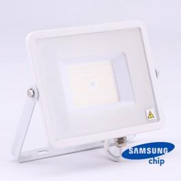 50W LED Прожектор SAMSUNG ЧИП SMD SLIM Бяло Тяло 4000К 120LM/W