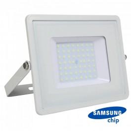 50W LED Прожектор SAMSUNG ЧИП SMD SLIM Бяло Тяло 6400К 120LM/W