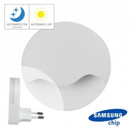 LED Нощна Лампа за Контакт Кръгла 60x54.5mm 4000K