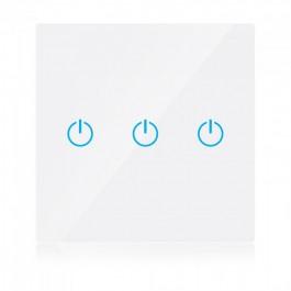 WIFI SMART Touch Ключ Троен Бял Съвместим с Amazon Alexa & Google Home