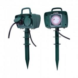 2 Гнезда Градински Разклонител Колче Таймер 3х1.5-3м. IP44 Зелен