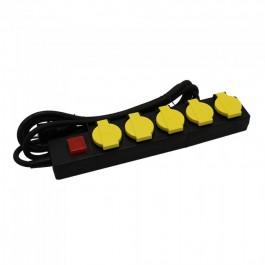 5 Гнезда Разклонител 3х1.5-2м. Ключ IP44 Черно+Жълто