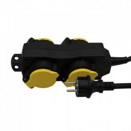 4 Гнезда Разклонител 3х1.5-1.4м. IP44 Черно+Жълто
