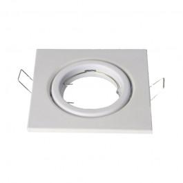 Корпус на луна за крушка с цокъл GU10 - Квадрат, Pегулируем, Бял