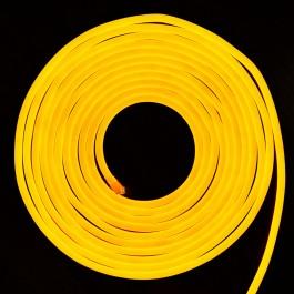 LED Неон Флекс 2835 - 120 LED, Жълта светлина, влагозащитена - 10 метра